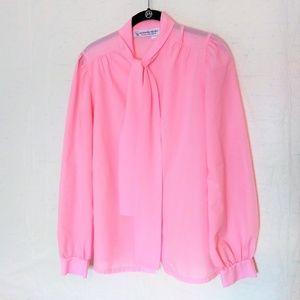 2/$20 70's Vintage Pink Tie neck blouse